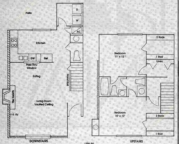 1,200 sq. ft. 2A floor plan
