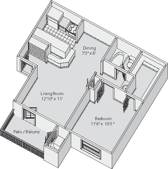 540 sq. ft. Carlton floor plan