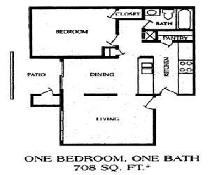 708 sq. ft. 1BA floor plan
