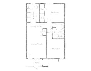 900 sq. ft. LA MOYNE floor plan