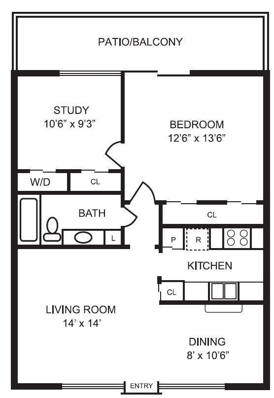 836 sq. ft. A2 floor plan
