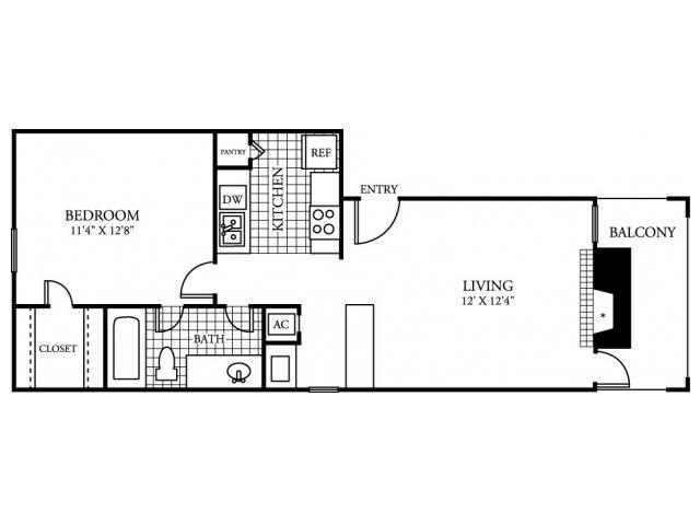 581 sq. ft. A1.2 floor plan