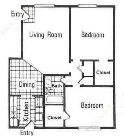 873 sq. ft. C floor plan