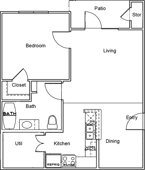 701 sq. ft. A1 ANSI floor plan