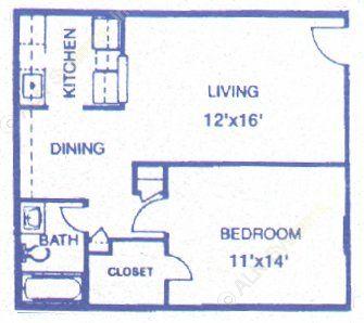 626 sq. ft. Redstone floor plan