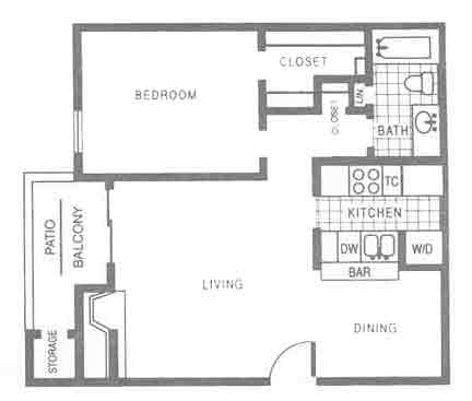 712 sq. ft. A2 floor plan