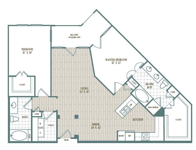 1,275 sq. ft. Quererein floor plan