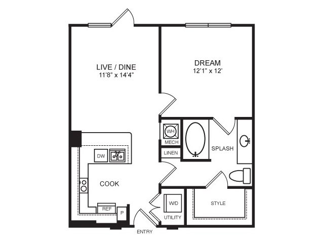 687 sq. ft. Travis floor plan