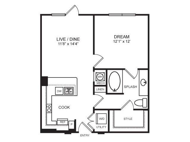 687 sq. ft. Travis floor plan