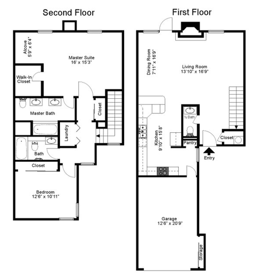 1,465 sq. ft. Waterchase floor plan