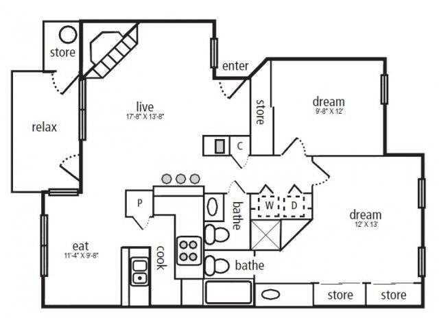 1,053 sq. ft. Cottonwood floor plan