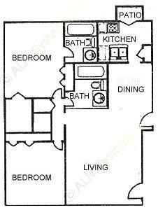 1,088 sq. ft. B2 floor plan