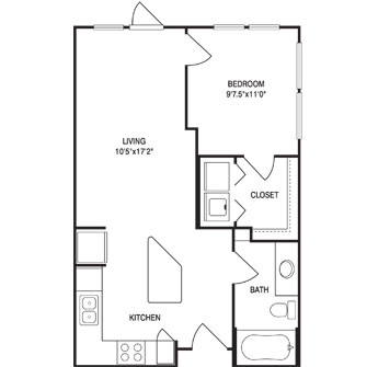 593 sq. ft. floor plan