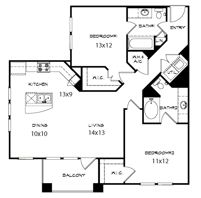 1,267 sq. ft. Duke floor plan