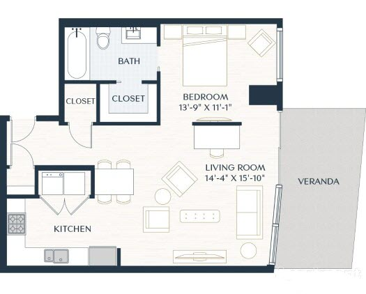 830 sq. ft. E2 floor plan