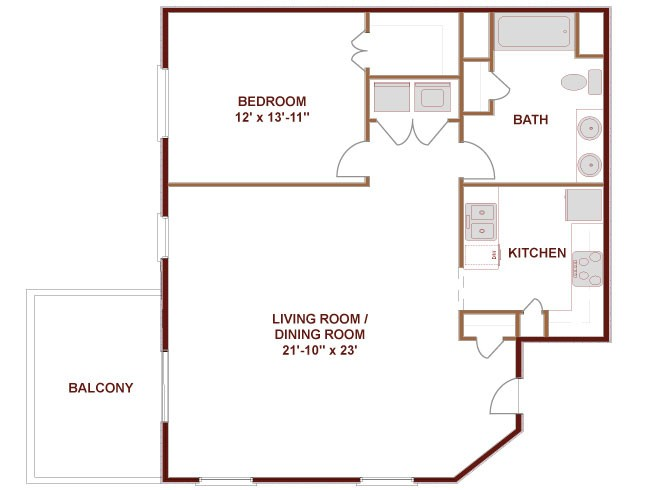 967 sq. ft. to 1,005 sq. ft. COLORADO floor plan