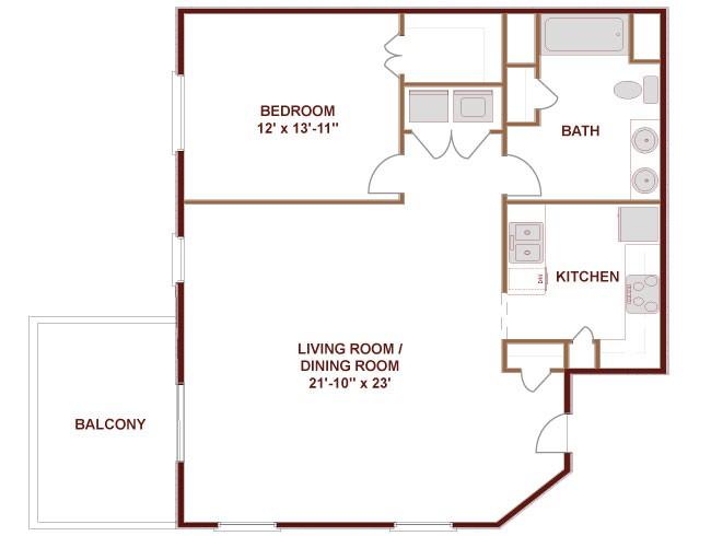 967 sq. ft. to 1,005 sq. ft. Colorado floor plan