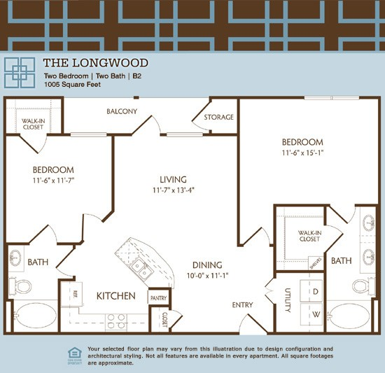 1,005 sq. ft. B2/LONGWOOD floor plan