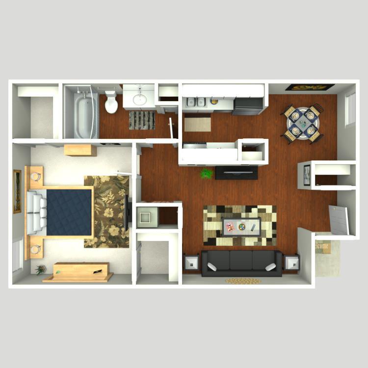 630 sq. ft. Brook floor plan