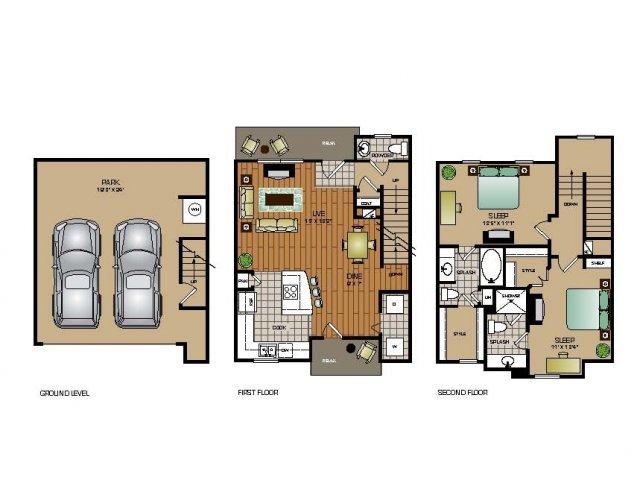 1,204 sq. ft. TH3 floor plan