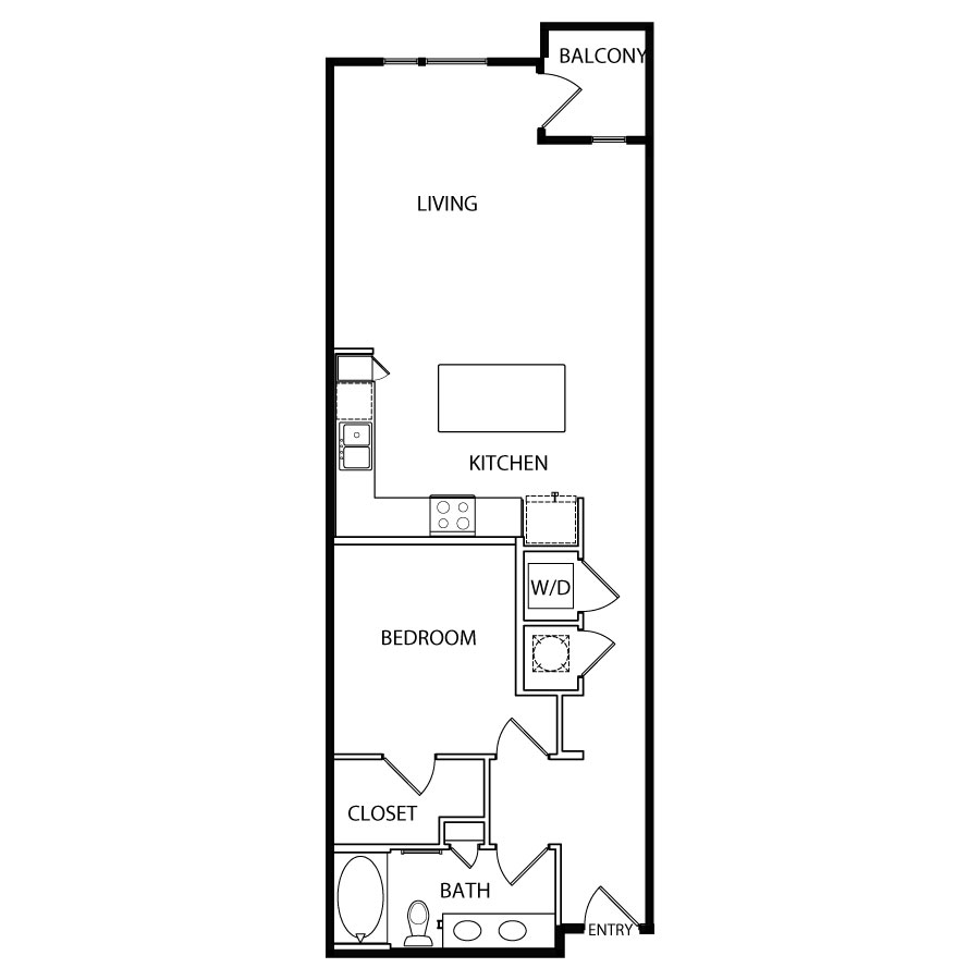 875 sq. ft. A9 floor plan