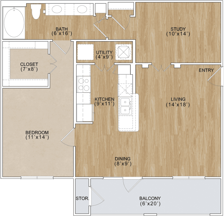 953 sq. ft. Brookside floor plan