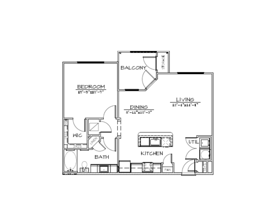 803 sq. ft. A1/50% floor plan