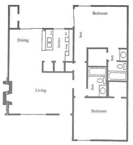 985 sq. ft. D3-D4 floor plan