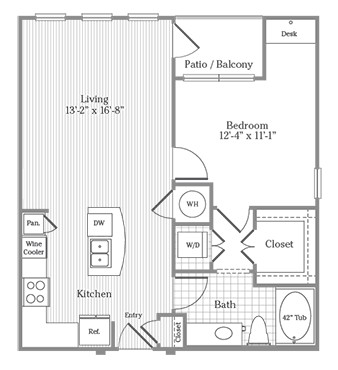 741 sq. ft. A4 floor plan