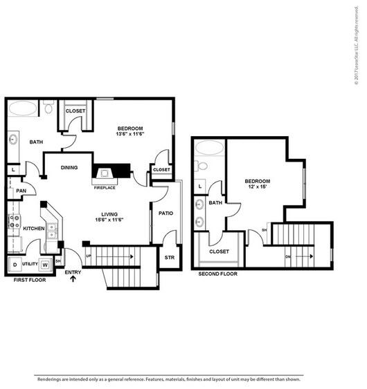 1,173 sq. ft. B3 floor plan