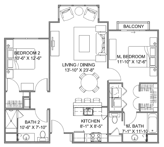 1,060 sq. ft. Promenade B/60% floor plan