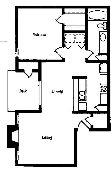 765 sq. ft. A3 floor plan