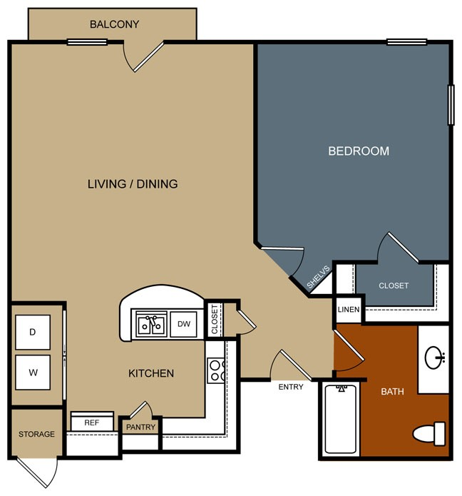 831 sq. ft. A6/60% floor plan