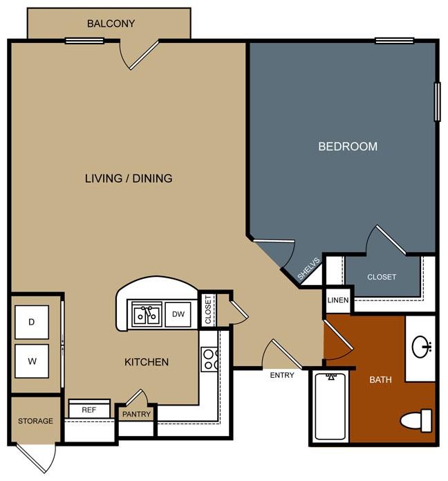 995 sq. ft. B1-80 floor plan