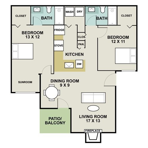 1,057 sq. ft. C2 floor plan
