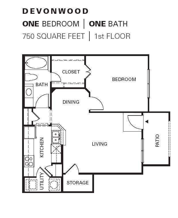 750 sq. ft. Devonwood floor plan