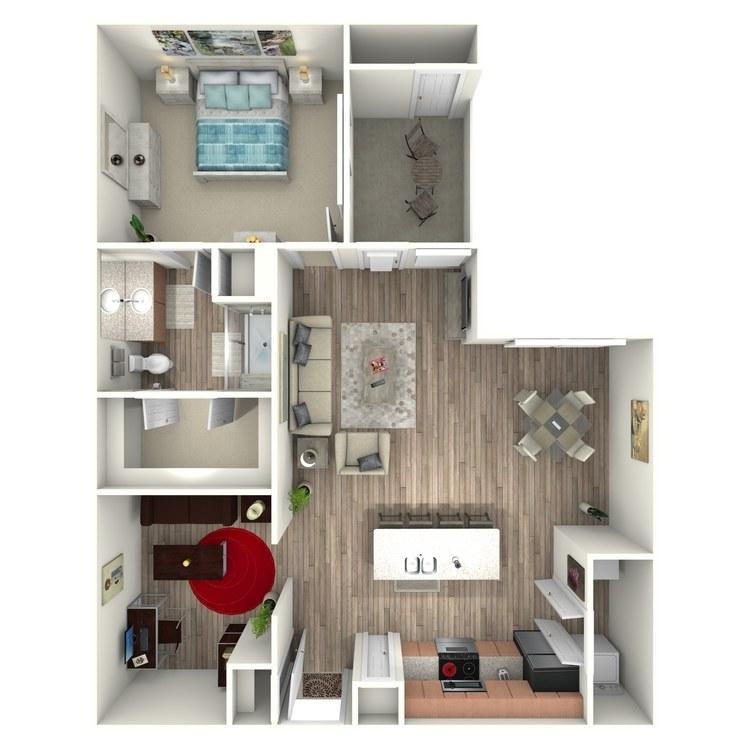981 sq. ft. A7 floor plan