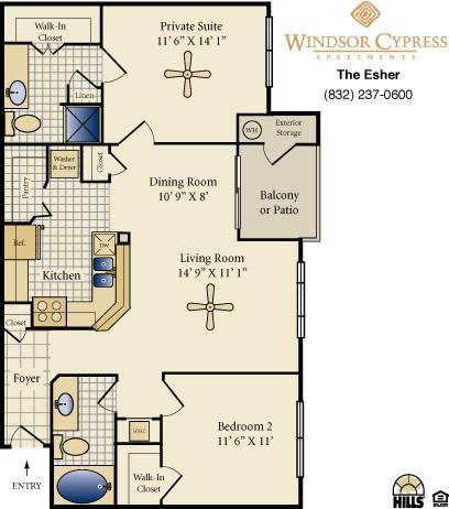 996 sq. ft. Esher floor plan