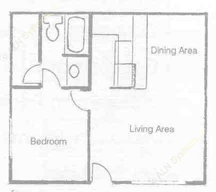 676 sq. ft. A-2 floor plan