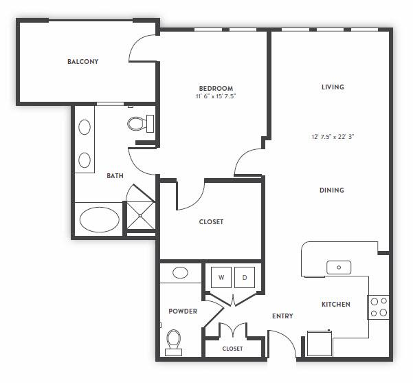 1,014 sq. ft. A5 floor plan