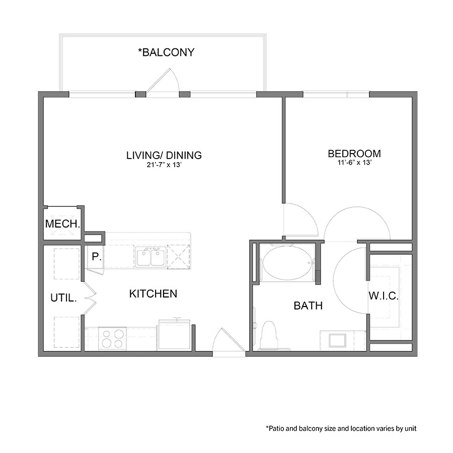 824 sq. ft. A6HC floor plan