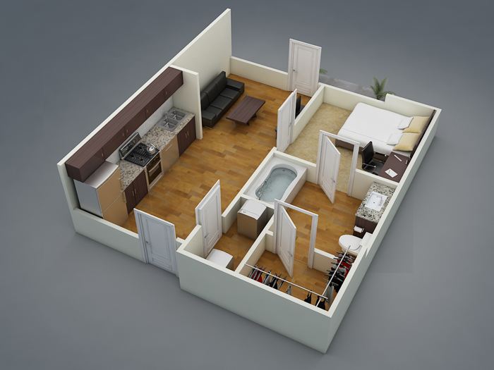 489 sq. ft. A1 floor plan
