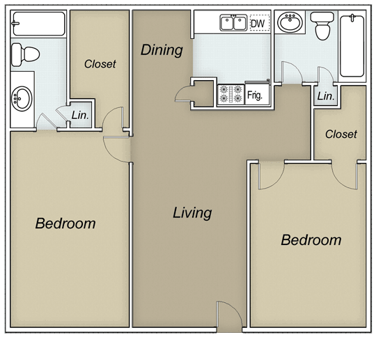 1,025 sq. ft. DAWSON floor plan