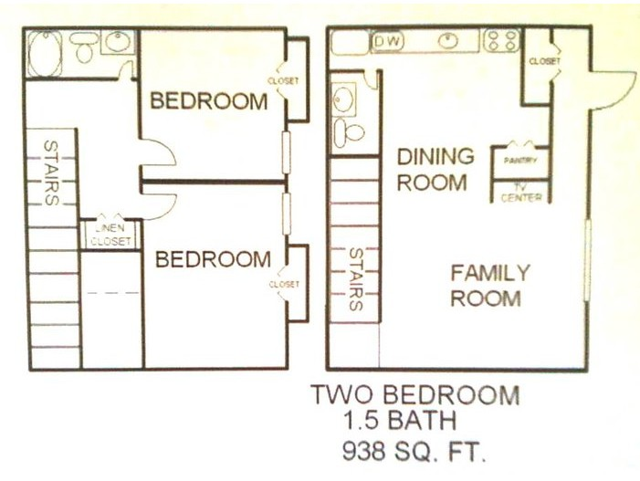 938 sq. ft. Pinyon floor plan