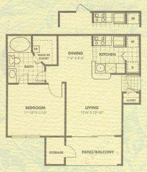 602 sq. ft. Ascot floor plan