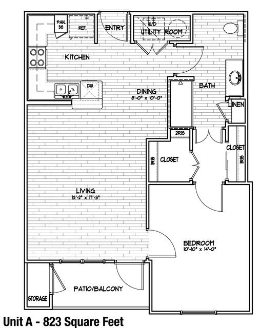 823 sq. ft. A/50% floor plan