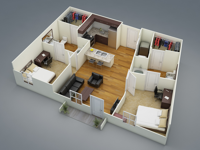 853 sq. ft. B2a floor plan