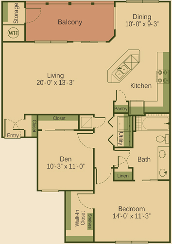 1,095 sq. ft. to 1,123 sq. ft. 1BD floor plan