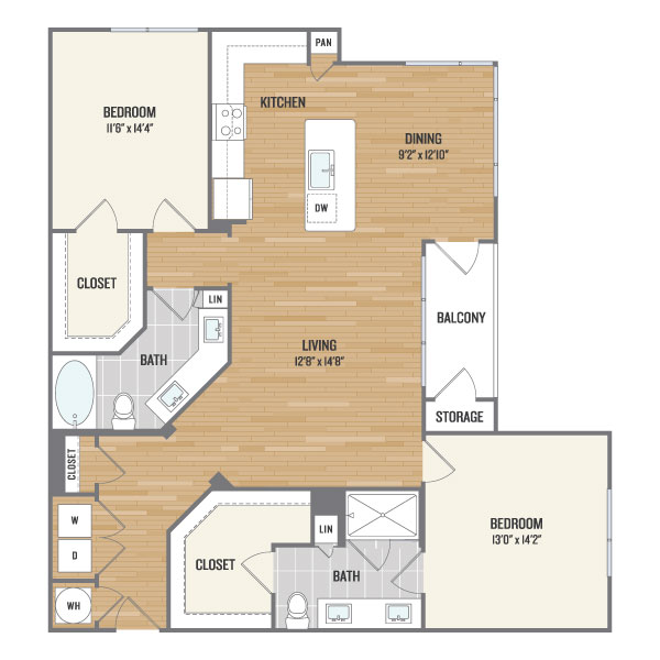 1,338 sq. ft. C5 floor plan