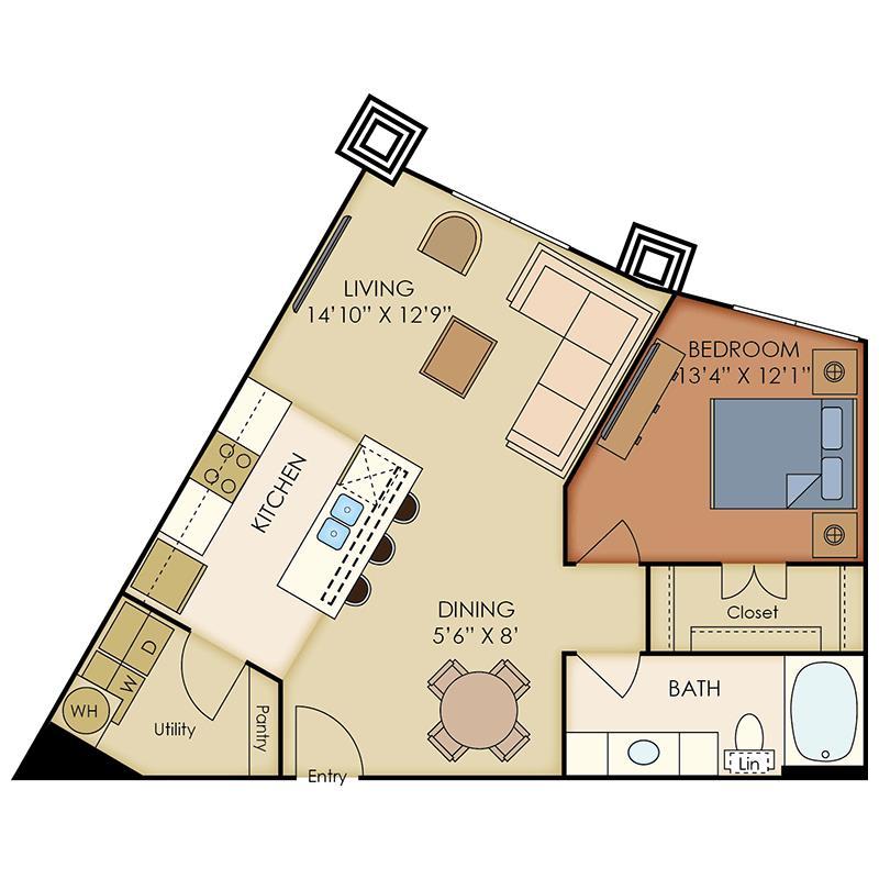 781 sq. ft. A8 floor plan